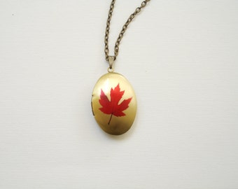 Red Maple Leaf Locket Necklace. Photo locket. Secret message. Fall locket. Nature. Autumn. Oval locket necklace. Bronze. Keepsake