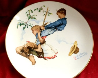 "Norman Rockwell Plate The Four Season ""Flying High"" by Gorham China"