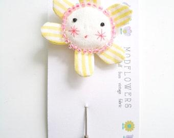flower face lapel pin brooch
