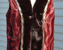 XL Mens Burning Man Faux Fur Vest