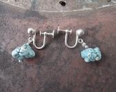 Sterling Silver Turquoise Earrings Natural Chunky Screwbacks Screw Backs