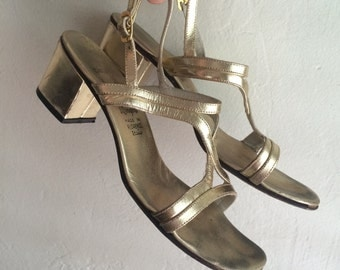 Vintage gold scrappy block heel sandals
