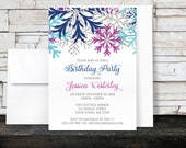Winter Birthday Invitations - Turquoise Navy Orchid Silver Snowflakes Winter Birthday - Printed Invitations