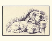 Antique MATTED Dog Print, 1930s Terrier Lucy Dawson, 5x7 Mounted Print Puppy Print, black & white Wall Decor, Home Interior Design, B-4