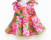 Hawaii Floral Twirl Dress - Toddler Girls Dress - Vintage Style - Jumper - Summer Outfit - Baby Shower - Birthday Gift - Handmade in USA