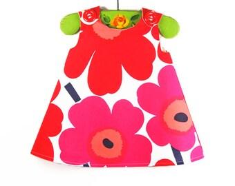 Marimekko - Toddler - Red Pink - Girls Dress - Baby Dress - Etsy Fashion - Newborn Gift - 1960' Style - Vintage - Newborn to 2T ONLY