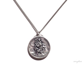 St Christopher Necklace LARGE PENDANT, Catholic Jewelry, Our Lady of the Highway Protect Us, Saint Christopher Jewelry, Christian Jewelry
