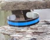 Thin Blue Line Flat Matte, Police Officer Gifts, Police Wife Jewelry, Personalized Cuff Bracelet, Memorial Jewelry, Police Mom, Police Grad