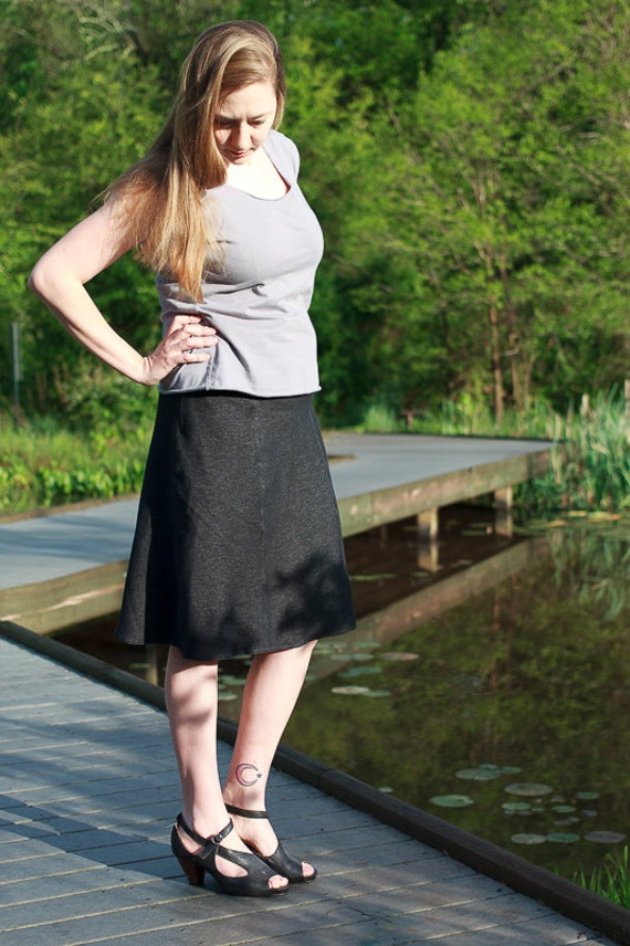 Stretch Denim Annie Skirt, A-line Organic Black Denim Skirt, 6-panel Skirt, Handmade Eco Friendly Denim Skirt