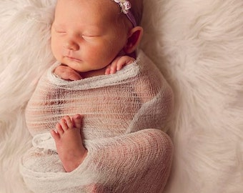 Baby Headband, Infant Headband, Floral Headband- Lilac Purple Floral Headband with Pearls