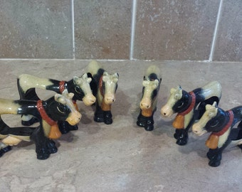 Cows grazing Cows Napkin ring holders country cows set of SIX Knobler International LTD