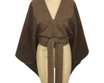 vintage 1970s chocolate stripe poncho / wool cashmere blend / brown / women's vintage poncho / one size fits most