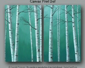 Teal green decor, Large wall art, Birch tree painting Oversized canvas print set, Slate sage gray aspen, Master bedroom, Dining room, Office