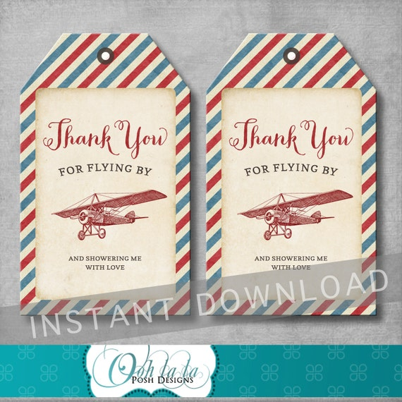 Airplane Birthday Party Favor Tags: Vintage Airplane Favor Tags Baby Shower Thank You Tags