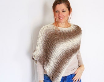 Cable poncho, loose knit poncho, beige ombre poncho, brown ombre poncho, light poncho, Eudora Cableside, ready to ship