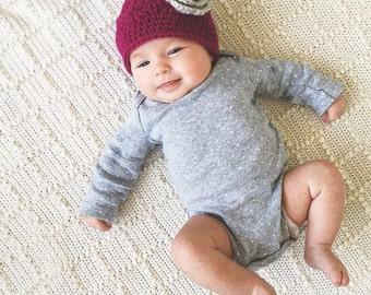 Baby Girl Flower Hat, Crochet Flower Hat, Women's Flower Beanie, Made To Order