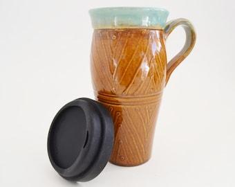 Handmade Pottery Travel mug with Lid, Large To Go Mug, 24 oz Stoneware Mug, Brown Green To Go Mug, Made to Order