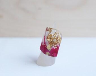 Boho Resin Ring, Resin Statement Ring, Big Pink Ring, Resin with Gold Leaf, Handmade Resin Ring, Pink Resin Ring, Statement Ring, Gold Flake