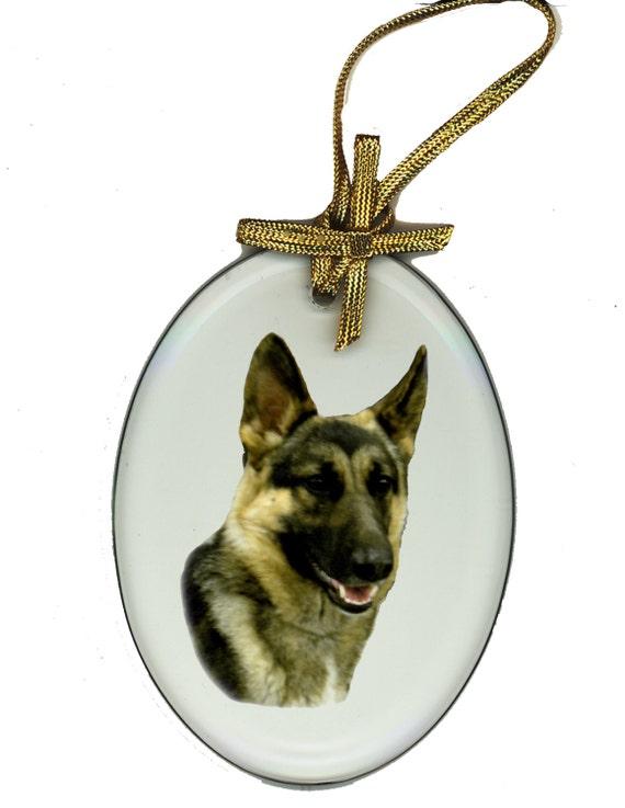 GERMAN SHEPHERD Oval or Arch Beveled Glass Suncatcher Ornament dog