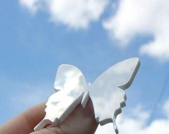 Butterfly brooch - Shiny white plexiglass jewelry - Laser cut butterfly pin -  Modern ladies accessories