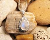 Reiki Attuned Rainbow Moonstone Silver Pendant Necklace