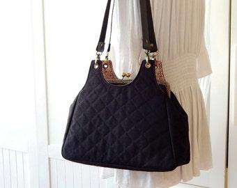 Large kiss lock shoulder bag, Cotton jute bag