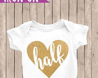 Half Birthday Onesie, Glitter Gold half Onesie, Half Birthday Outfit, 6 months Iron On, Glitter Heart half, Gold Heart Onesie