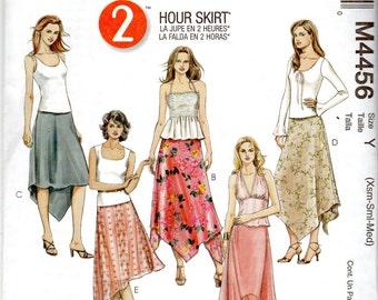 Easy Asymmetrical, Shaped Hem Skirt Pattern - Size X-Small, Small, Medium (4-14) - McCall's M4456 uncut
