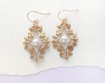 Floral 'Cella' Court Earrings - Hand Wired Swarovski Crystal Pearl leafy brass earrings
