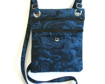 Hip bag- Blue, black and grey marbled cotton