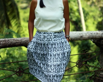 Grey and White Skirt / Summer Skirts / Woman's Skirt / White and Grey Skirts with Pockets / Holiday Skirts