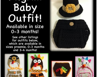 Pilgrim hat and diaper cover set - 0-3 months, newborn - great photo prop, Thanksgiving baby outfit, pilgrim baby