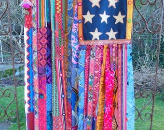 Gypsy boho chic American Flag wall curtain hippie decor bohemian style apartment therapy wall ...