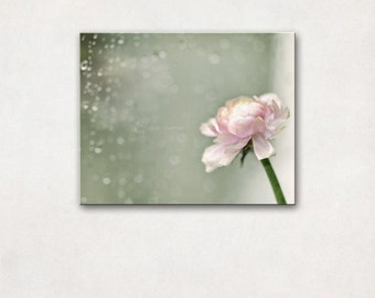 Canvas Art | Dreamy Flower Photography, Cottage Chic Decor, Pastel Wall Art, Teal & Pink