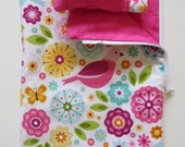 "American Girl Doll Clothes; Doll Sleeping Bag; Flower and Bird Doll Sleeping Bag; 18"" Doll Bedding; Doll Pillow"