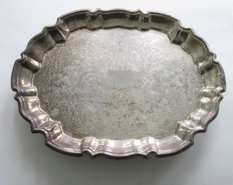 Vintage Tarnished Leonard Silver Plate Footed Tray