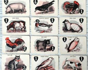 Animal game cards, ready to frame as fun home decor or a gift for an animal lover. 12 to choose from.