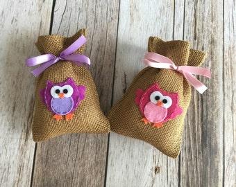 10 owl baby shower burlap favor bags, owl favor bag, baby girl, baby boy.
