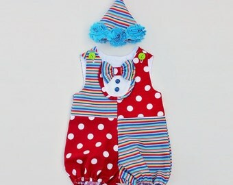 Baby Girl Clown Costume Cute Circus Romper Handmade Unique with Hat - Ready to Ship - Sz 1