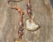 Kodiak Island Sea Glass Earrings from Alaska with Swarovski and Glass Beads with Copper Colored wire