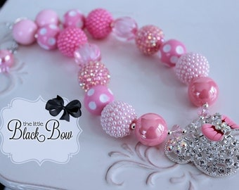 MINNIE MOUSE Chunky Necklace, Minnie Necklace, Rhinestone Pendant, Pink Beads Child, Toddler, Baby Size Bubblegum Gumball Beaded Necklace