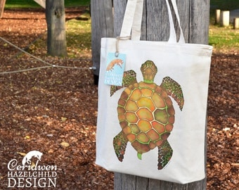 Turtle Tote Bag, Ethically Produced Reusable Shopper Bag, Cotton Tote, Shopping Bag, Eco Tote Bag, Reusable Grocery Bag