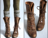 Brown Distressed Leather Ropers Lace Up Boots sz 5-5.5