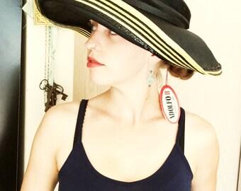 Adolfo II black straw hat w/ yellow trim tags on  classy derby hat  Sz 7.5 #blackstrawhat#designerhat#classyhat#AdolfoII