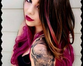 Ombre Wig. Brown Ombre Wigs. Red Ombre Wig. Auburn Red Wine Hairstyle. Halloween Costumes. Adult Costumes.