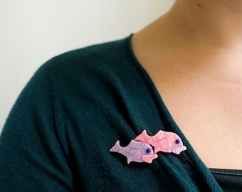 Lea Stein Brooch - Fish Brooch - Purple Pink - Double Fish Pin - Lea Stein Paris