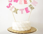 Sweet Sixteen Birthday Cake Topper, Cake Banner, Personalized Cake Bunting, Custom Party Decor hot pink pastel gold polka dot hearts glitter