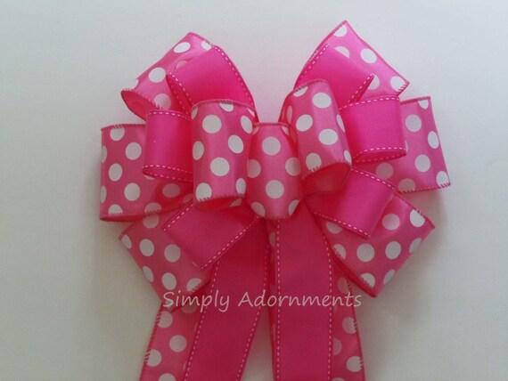 Baby Girl 1st Birthday Party Decor Pink Polka Dots Bow Pink Wreath Bow Pink Polka Dots Baby Shower Party decor Pink Party Decor Door hanger