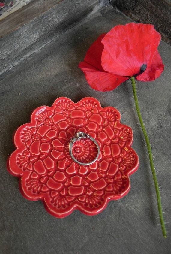 Valentine's Day Ceramic Flower Plate Poppy Red Dish Lace Pattern Ring Holder Valentine Pottery
