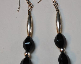 Earrings Sophisticated Jet Beads and Silver Drops  Wires Handmade